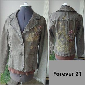 Forever 21 Fringed Blazer w/ All Over Embroidery
